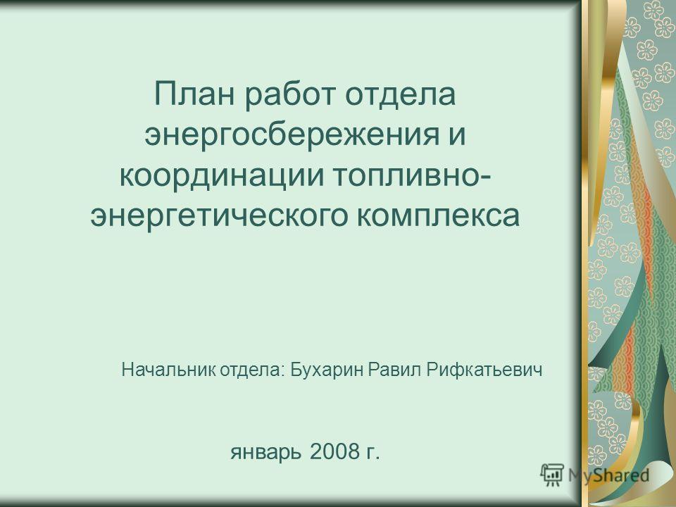 План работ отдела энергосбережения и координации топливно- энергетического комплекса январь 2008 г. Начальник отдела: Бухарин Равил Рифкатьевич