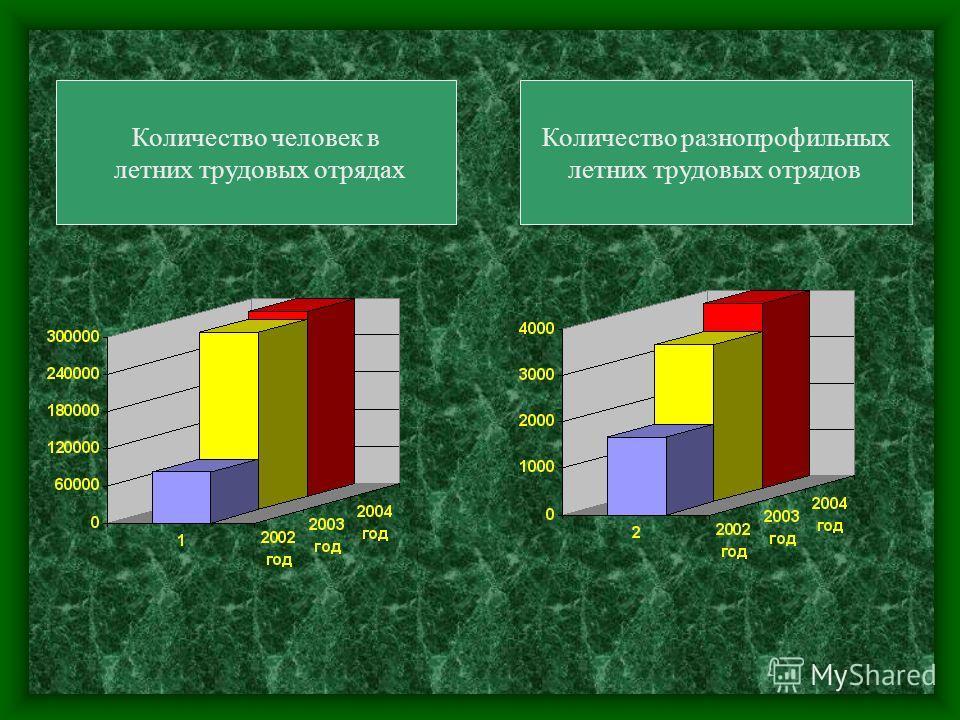 Количество человек в летних трудовых отрядах Количество разнопрофильных летних трудовых отрядов