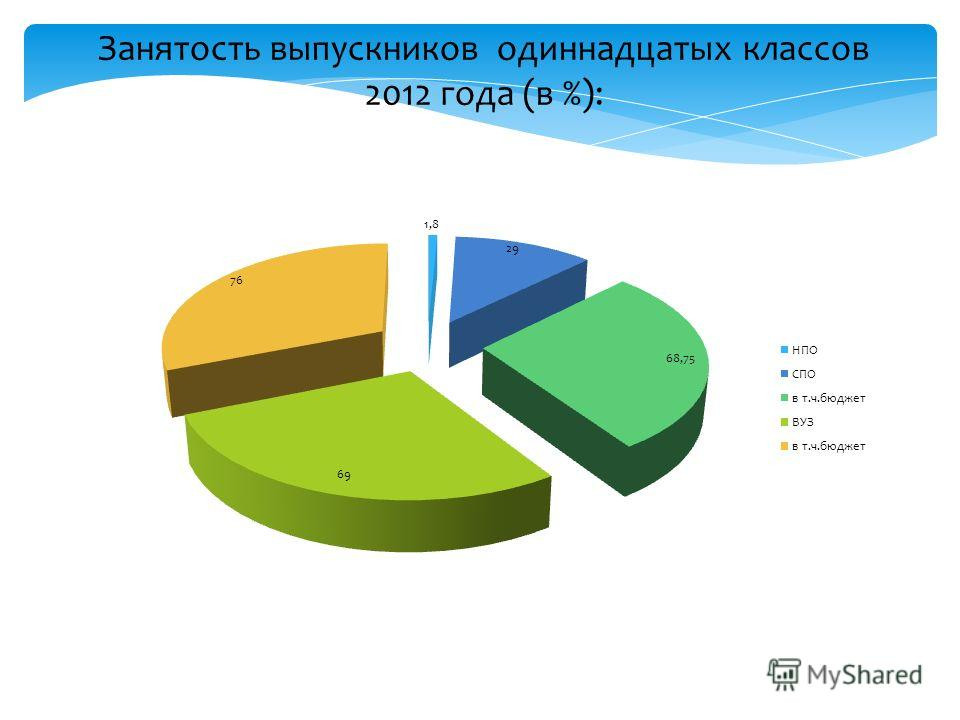 Занятость выпускников одиннадцатых классов 2012 года (в %):