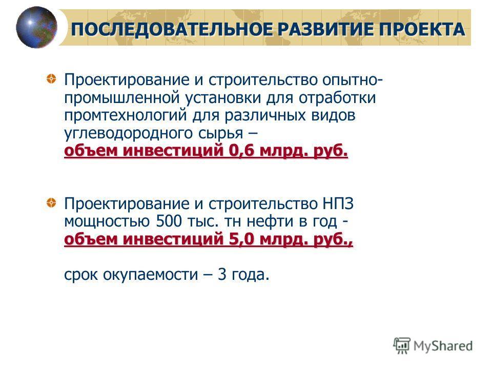 ПОСЛЕДОВАТЕЛЬНОЕ РАЗВИТИЕ ПРОЕКТА объем инвестиций 0,6 млрд. руб. Проектирование и строительство опытно- промышленной установки для отработки промтехнологий для различных видов углеводородного сырья – объем инвестиций 0,6 млрд. руб. объем инвестиций