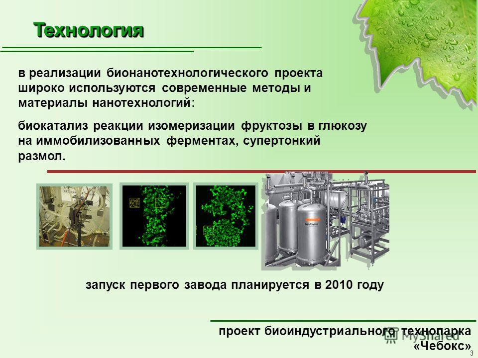 3 ТехнологияТехнология проект биоиндустриального технопарка «Чебокс» в реализации бионанотехнологического проекта широко используются современные методы и материалы нанотехнологий: биокатализ реакции изомеризации фруктозы в глюкозу на иммобилизованны