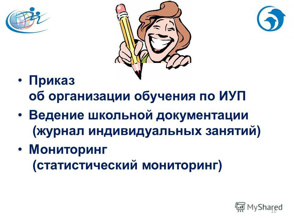 Приказ об организации обучения по ИУП Ведение школьной документации (журнал индивидуальных занятий) Мониторинг (статистический мониторинг) 10