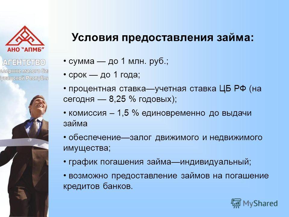Условия предоставления займа: сумма до 1 млн. руб.; срок до 1 года; процентная ставкаучетная ставка ЦБ РФ (на сегодня 8,25 % годовых); комиссия – 1,5 % единовременно до выдачи займа обеспечениезалог движимого и недвижимого имущества; график погашения