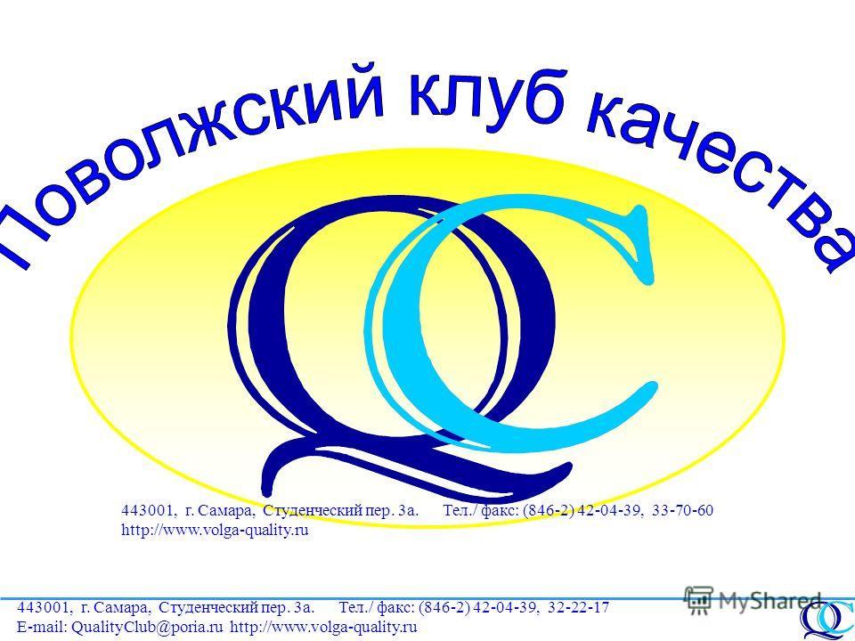 443001, г. Самара, Студенческий пер. 3а. Тел./ факс: (846-2) 42-04-39, 32-22-17 E-mail: QualityClub@poria.ru 443001, г. Самара, Студенческий пер. 3а. Тел./ факс: (846-2) 42-04-39, 33-70-60 http://www.volga-quality.ru