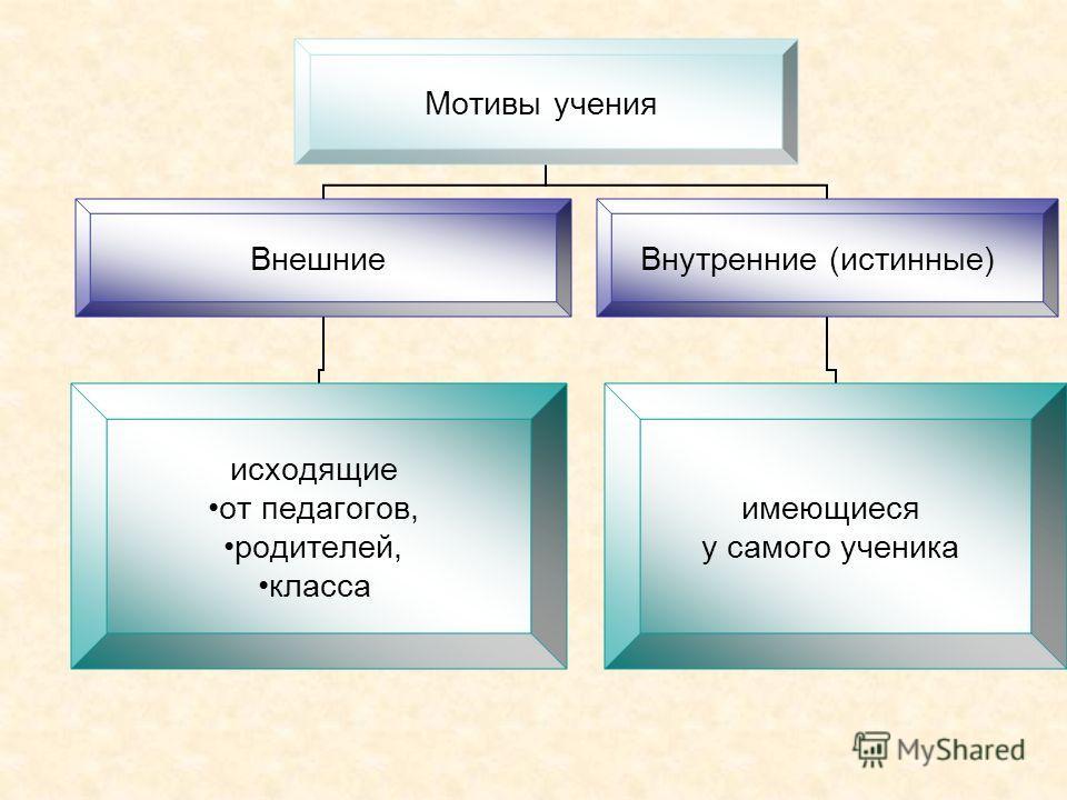 Мотивы учения Внешние исходящие от педагогов, родителей, класса Внутренние (истинные) имеющиеся у самого ученика