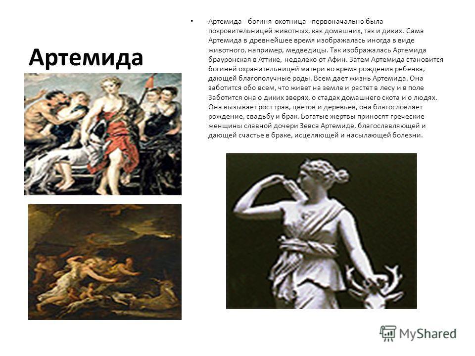 Артемида Артемида - богиня-охотница - первоначально была покровительницей животных, как домашних, так и диких. Сама Артемида в древнейшее время изображалась иногда в виде животного, например, медведицы. Так изображалась Артемида брауронская в Аттике,