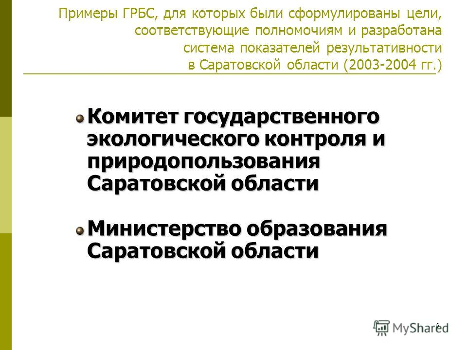 6 Примеры ГРБС, для которых были сформулированы цели, соответствующие полномочиям и разработана система показателей результативности в Саратовской области (2003-2004 гг.) Комитет государственного экологического контроля и природопользования Саратовск
