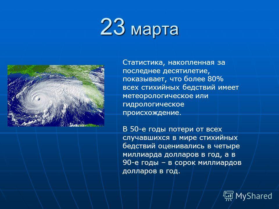 23 марта Статистика, накопленная за последнее десятилетие, показывает, что более 80% всех стихийных бедствий имеет метеорологическое или гидрологическое происхождение. В 50-е годы потери от всех случавшихся в мире стихийных бедствий оценивались в чет