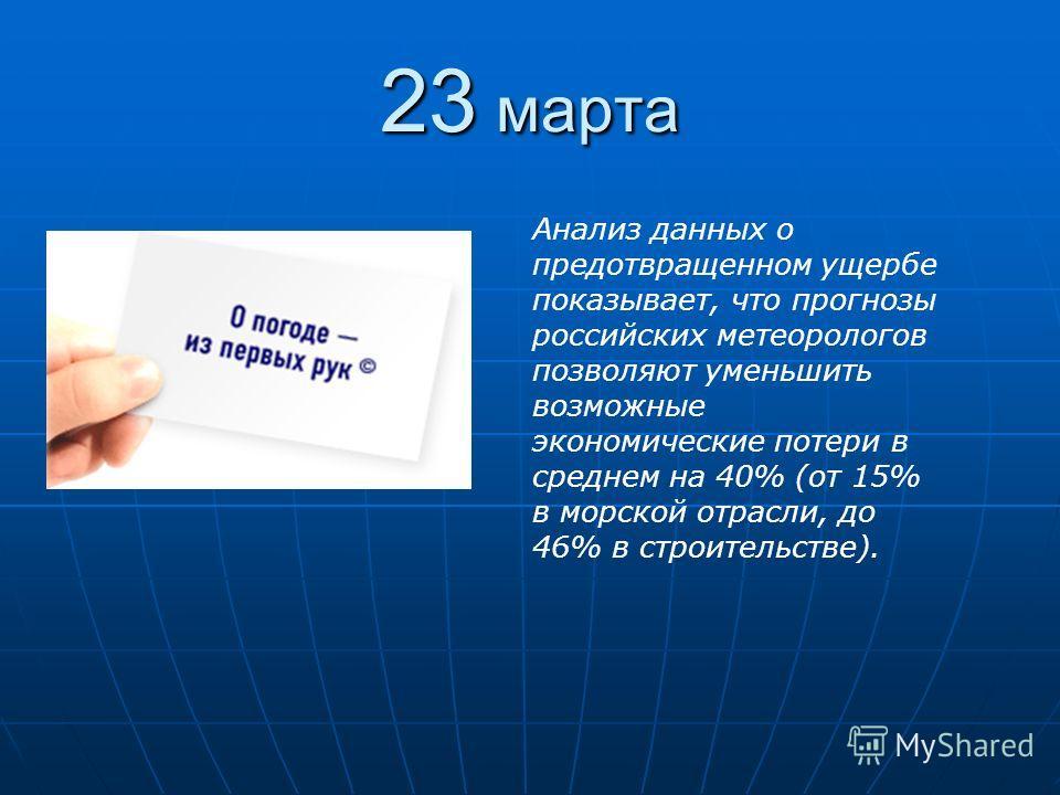 23 марта Анализ данных о предотвращенном ущербе показывает, что прогнозы российских метеорологов позволяют уменьшить возможные экономические потери в среднем на 40% (от 15% в морской отрасли, до 46% в строительстве).
