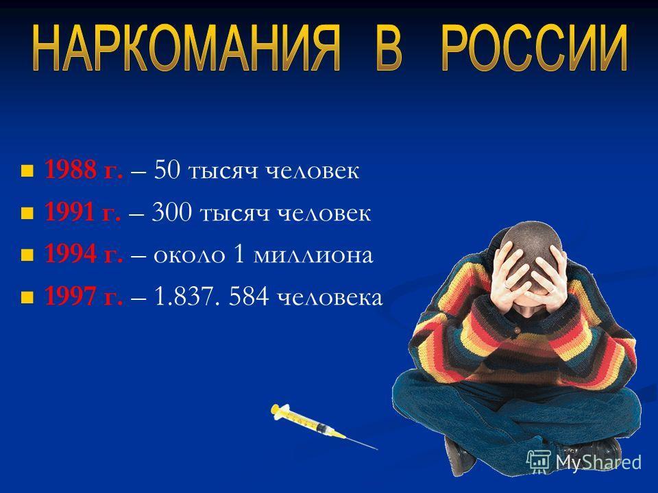 1988 г. – 50 тысяч человек 1991 г. – 300 тысяч человек 1994 г. – около 1 миллиона 1997 г. – 1.837. 584 человека