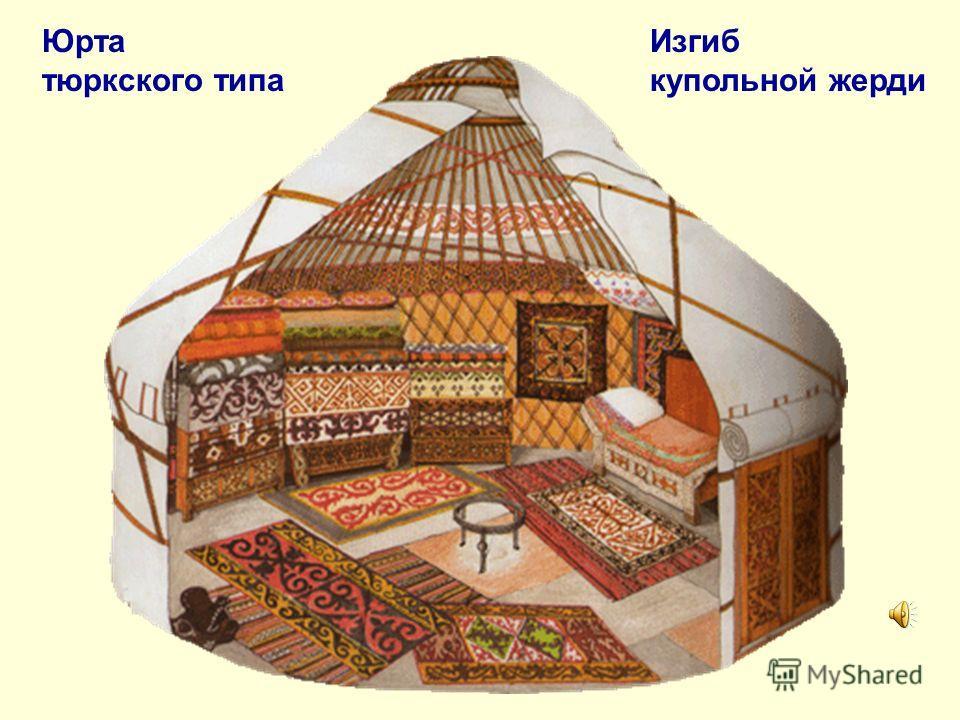 Юрта тюркского типа Изгиб купольной жерди