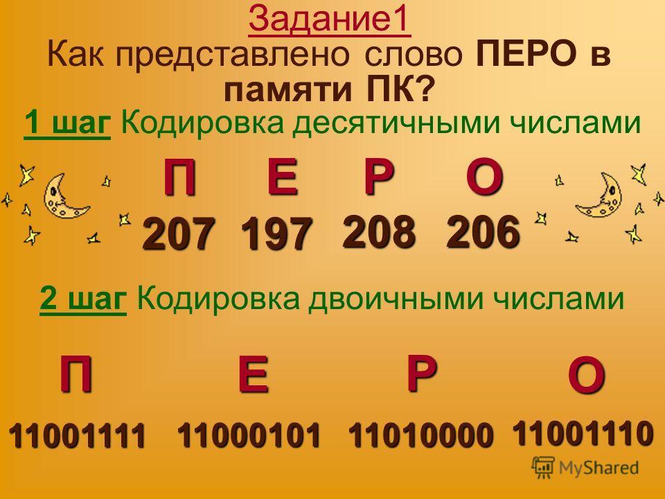 Задание1 Как представлено слово ПЕРО в памяти ПК? 1 шаг Кодировка десятичными числами П Е РО 207 197 208206 2 шаг Кодировка двоичными числами П Е Р О 11001111 1100010111010000 11001110