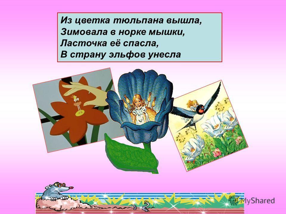 Из цветка тюльпана вышла, Зимовала в норке мышки, Ласточка её спасла, В страну эльфов унесла