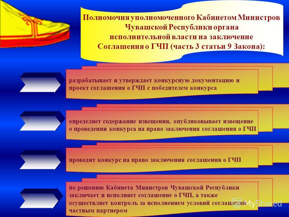 6 Полномочия уполномоченного Кабинетом Министров Чувашской Республики органа исполнительной власти на заключение Соглашения о ГЧП (часть 3 статьи 9 Закона): разрабатывает и утверждает конкурсную документацию и проект соглашения о ГЧП с победителем ко