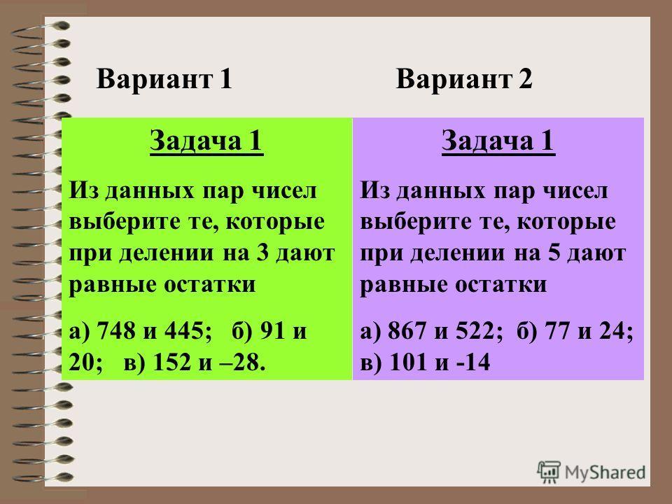 Вариант 1Вариант 2 Задача 1 Из данных пар чисел выберите те, которые при делении на 3 дают равные остатки а) 748 и 445; б) 91 и 20; в) 152 и –28. Задача 1 Из данных пар чисел выберите те, которые при делении на 5 дают равные остатки а) 867 и 522; б)