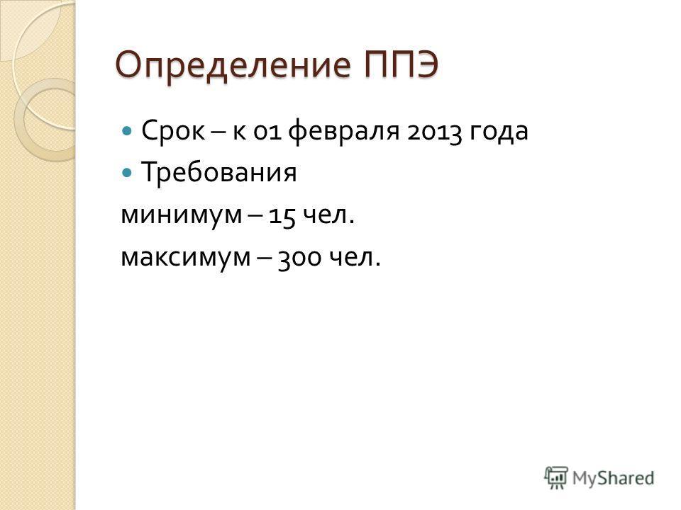 Определение ППЭ Срок – к 01 февраля 2013 года Требования минимум – 15 чел. максимум – 300 чел.