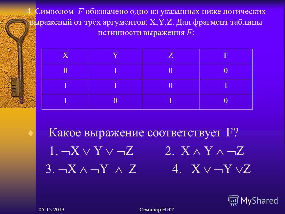 05.12.2013Семинар НИТ 4. Символом F обозначено одно из указанных ниже логических выражений от трёх аргументов X Y Z. Дан фрагмент таблицы истинности выражения F Какое выражение соответствует F 1. X Y Z 2. X Y Z 3. X Y Z 4. X Y Z XYZF 0100 1101 1010