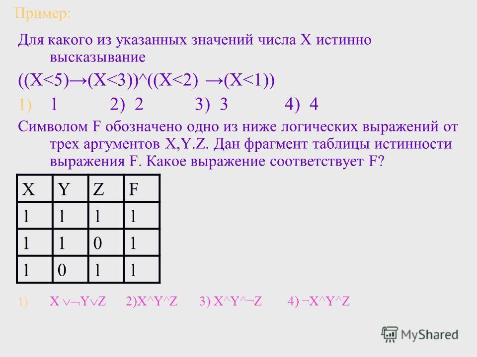 Пример: Для какого из указанных значений числа Х истинно высказывание ((Х