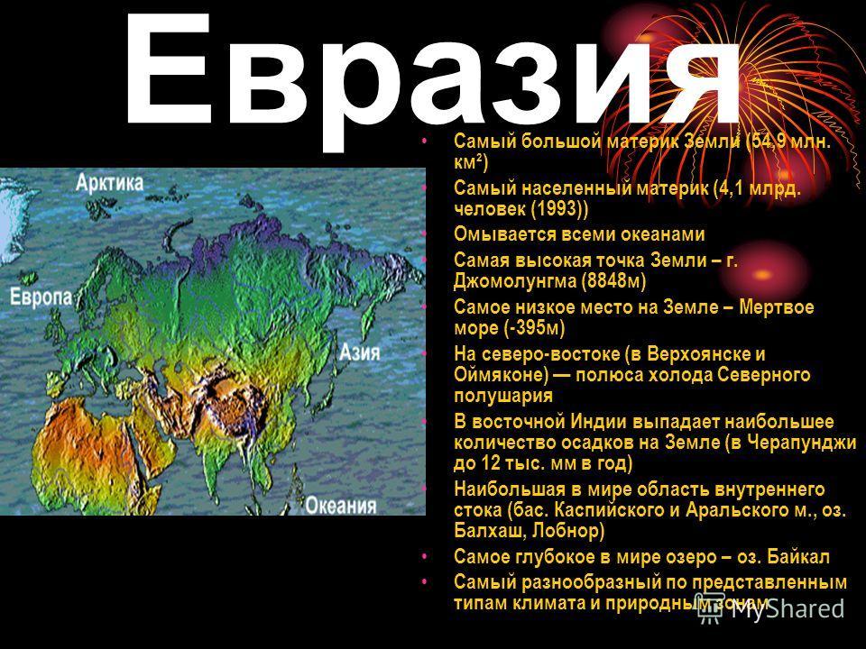 Евразия Самый большой материк Земли (54,9 млн. км²) Самый населенный материк (4,1 млрд. человек (1993)) Омывается всеми океанами Самая высокая точка Земли – г. Джомолунгма (8848м) Самое низкое место на Земле – Мертвое море (-395м) На северо-востоке (