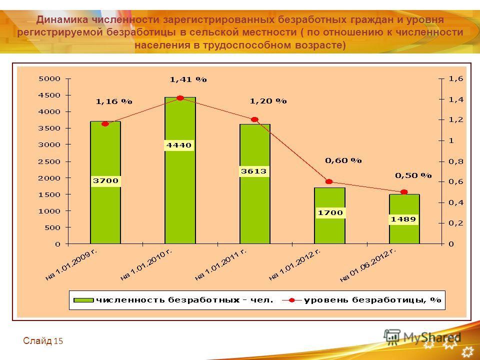 Слайд 15 Динамика численности зарегистрированных безработных граждан и уровня регистрируемой безработицы в сельской местности ( по отношению к численности населения в трудоспособном возрасте)