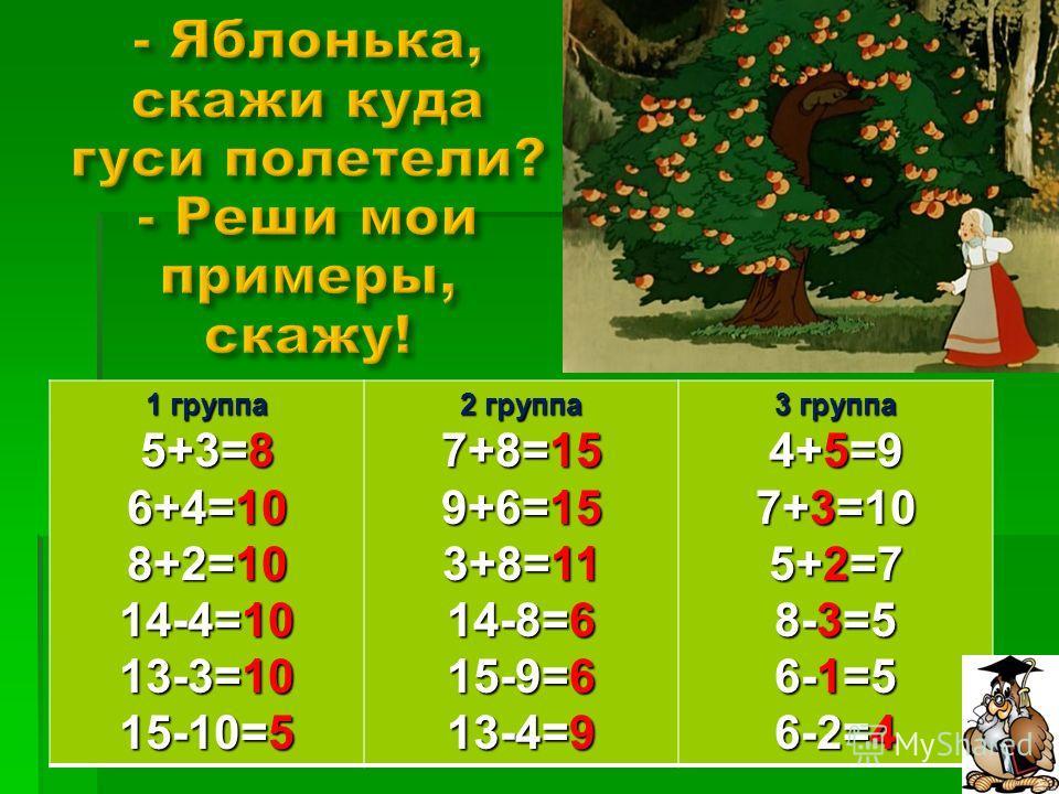 1 группа 5+3=8 6+4=10 8+2=10 14-4=10 13-3=10 15-10=5 2 группа 7+8=15 9+6=15 3+8=11 14-8=6 15-9=6 13-4=9 3 группа 4+5=9 7+3=10 5+2=7 8-3=5 6-1=5 6-2=4