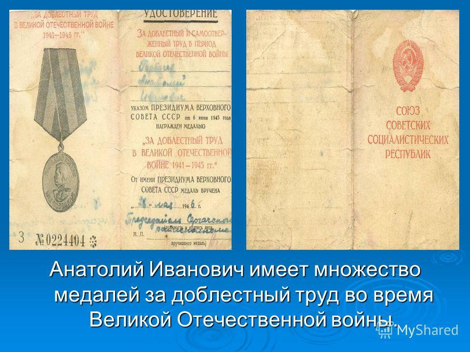Анатолий Иванович имеет множество медалей за доблестный труд во время Великой Отечественной войны.