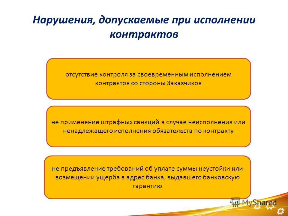 Нарушения, допускаемые при исполнении контрактов отсутствие контроля за своевременным исполнением контрактов со стороны Заказчиков не применение штрафных санкций в случае неисполнения или ненадлежащего исполнения обязательств по контракту не предъявл