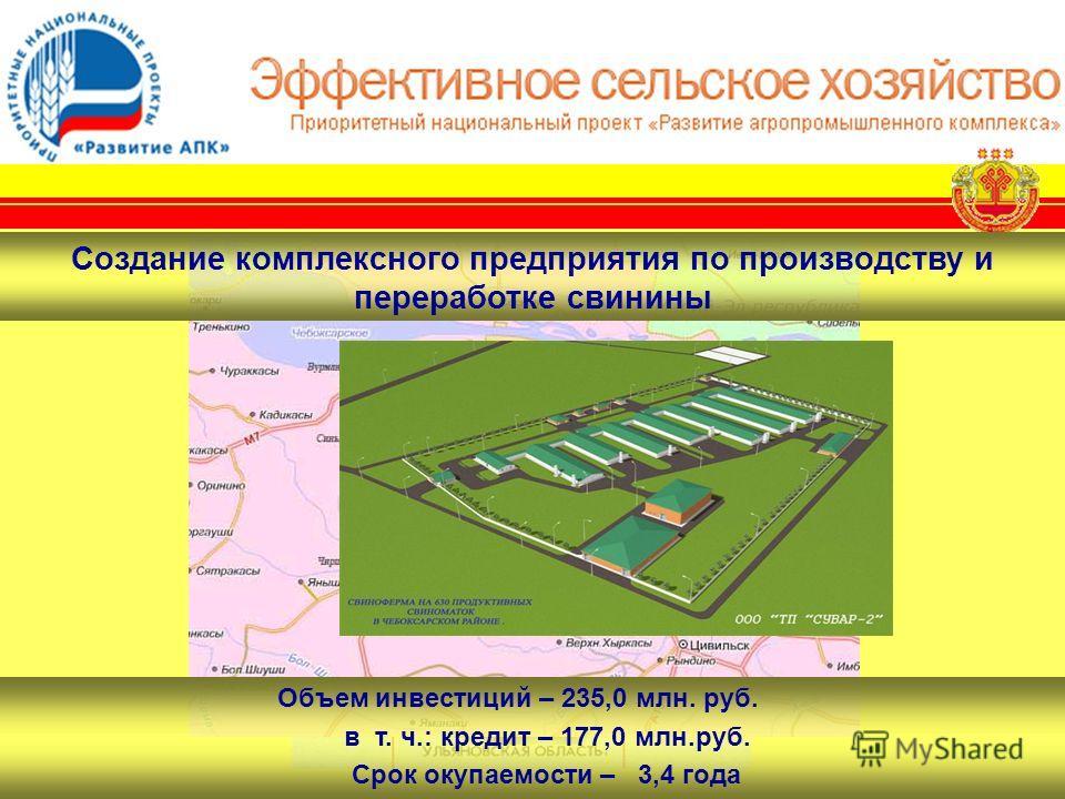 Объем инвестиций – 235,0 млн. руб. в т. ч.: кредит – 177,0 млн.руб. Срок окупаемости – 3,4 года Создание комплексного предприятия по производству и переработке свинины