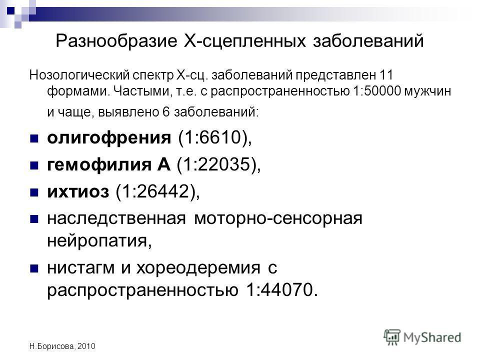 Н.Борисова, 2010 Разнообразие Х-сцепленных заболеваний Нозологический спектр Х-сц. заболеваний представлен 11 формами. Частыми, т.е. с распространенностью 1:50000 мужчин и чаще, выявлено 6 заболеваний: олигофрения (1:6610), гемофилия А (1:22035), ихт