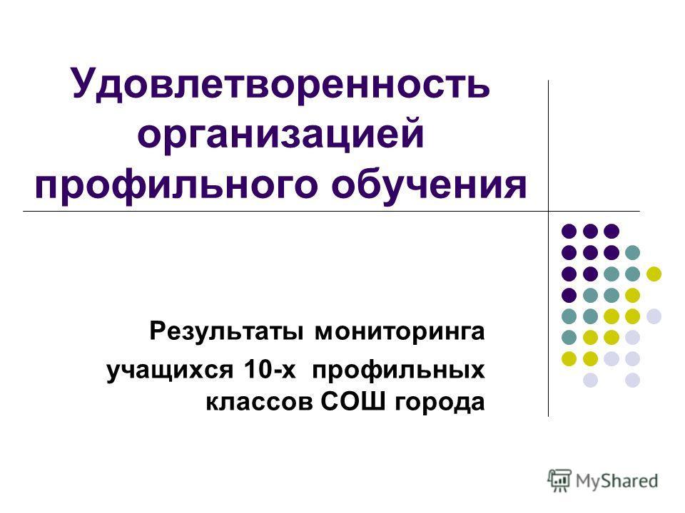 Удовлетворенность организацией профильного обучения Результаты мониторинга учащихся 10-х профильных классов СОШ города