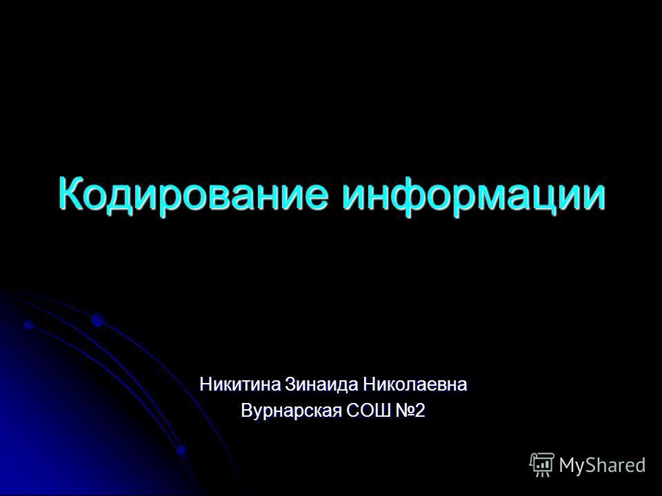 Кодирование информации Никитина Зинаида Николаевна Вурнарская СОШ 2
