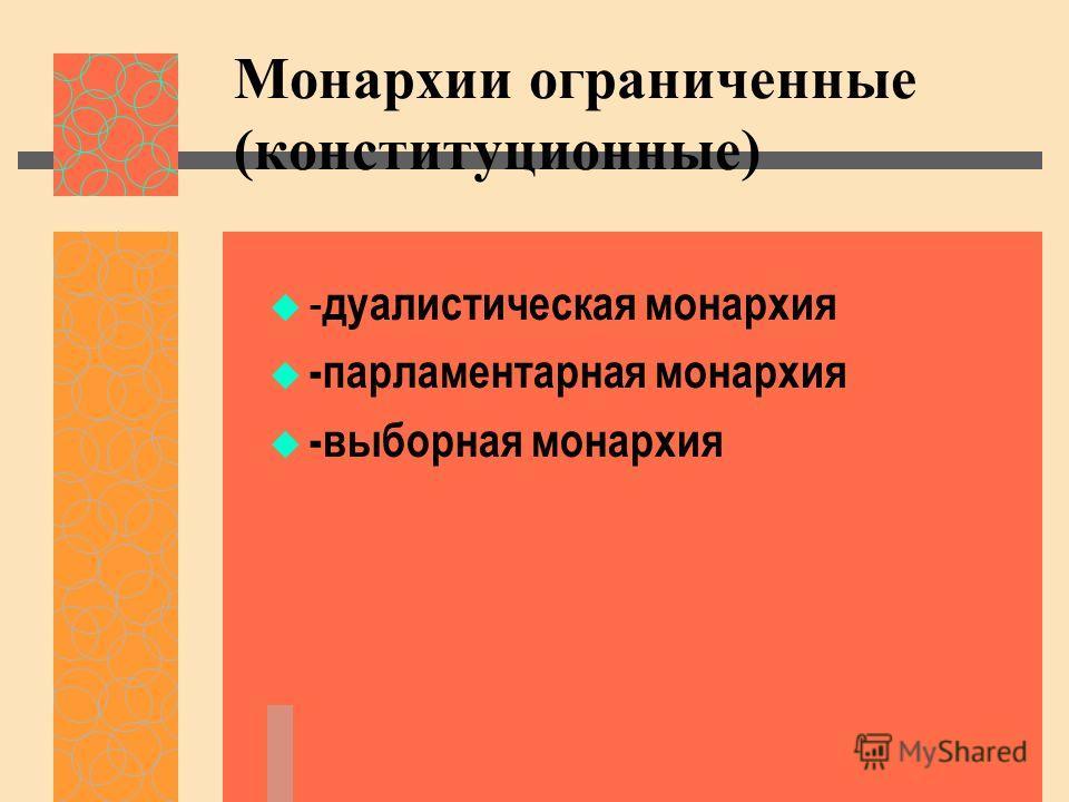 Монархии ограниченные (конституционные) - дуалистическая монархия -парламентарная монархия -выборная монархия