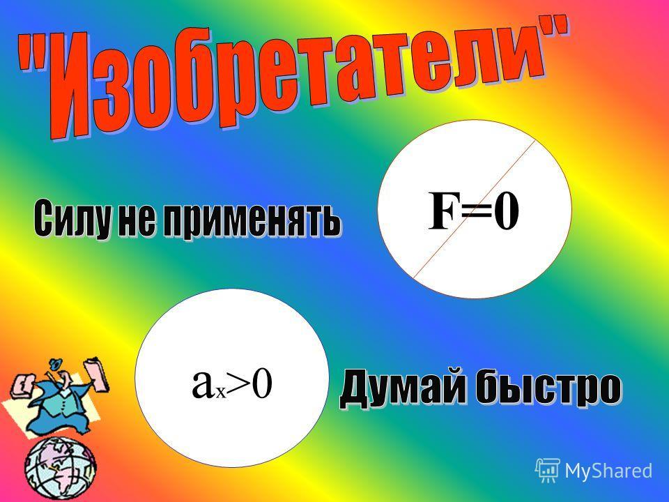 F=0 а х >0