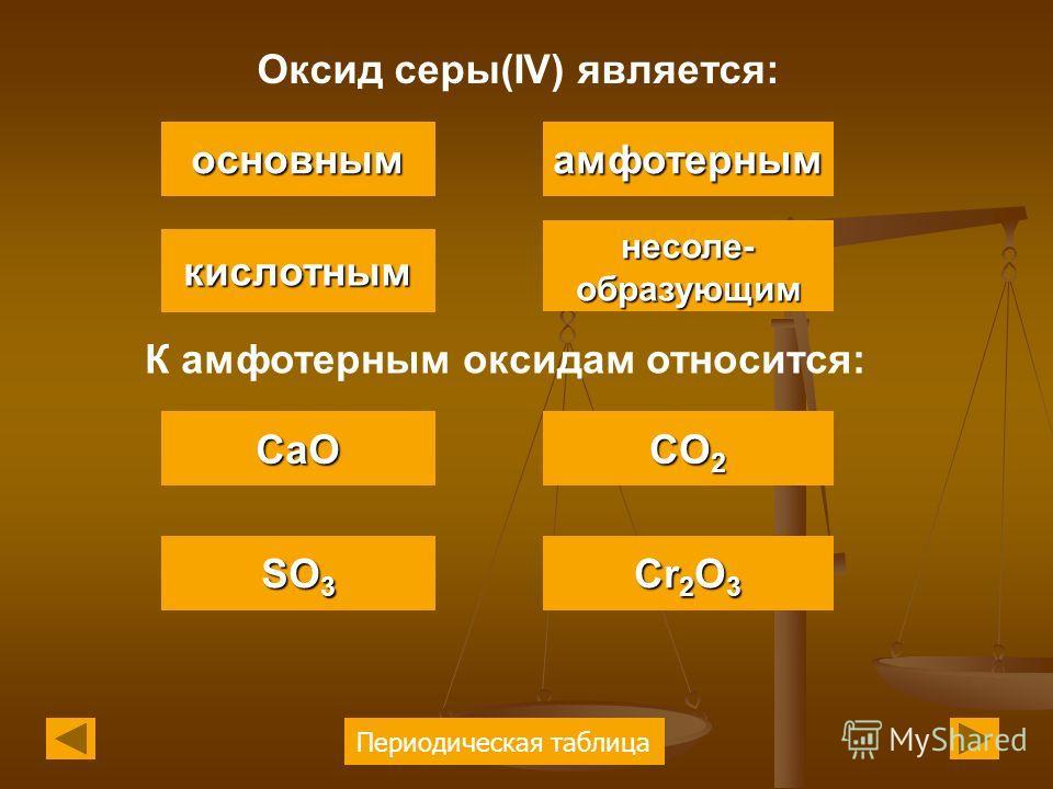 Периодическая таблица Оксид серы(IV) является: основным кислотным амфотерным несоле- образующим К амфотерным оксидам относится: CaO SO 3 SO 3 CO 2 CO 2 Cr 2 O 3 Cr 2 O 3