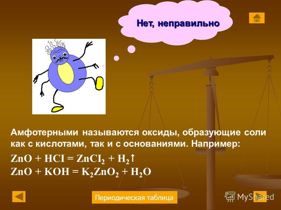 Периодическая таблица Нет, неправильно Амфотерными называются оксиды, образующие соли как с кислотами, так и с основаниями. Например: ZnO + HCI = ZnCI 2 + H 2 ZnO + KOH = K 2 ZnO 2 + H 2 O