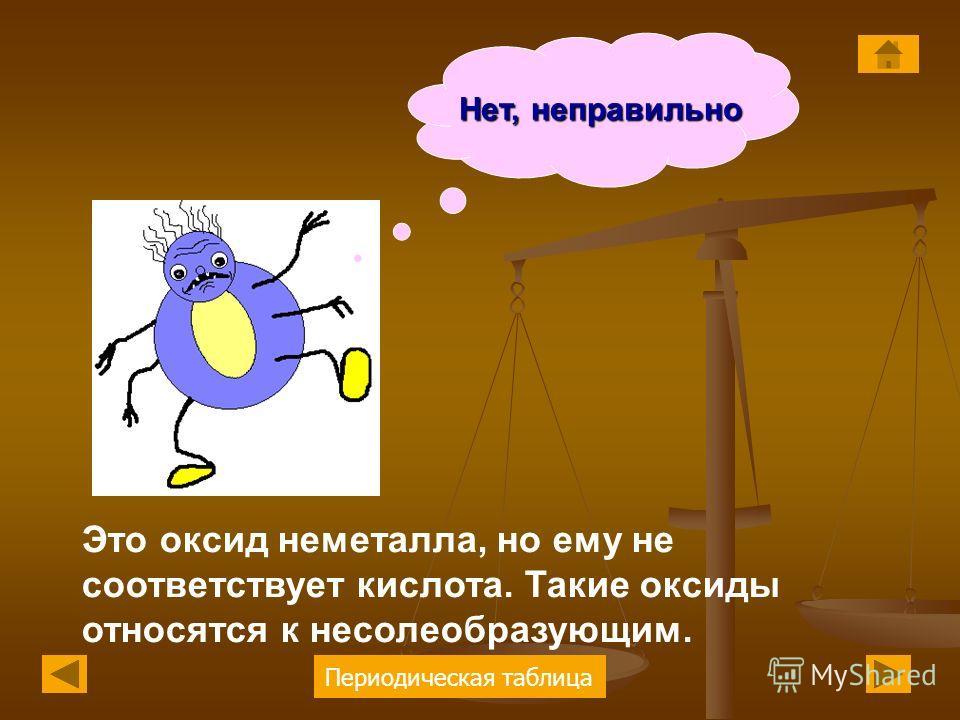 Периодическая таблица Нет, неправильно Это оксид неметалла, но ему не соответствует кислота. Такие оксиды относятся к несолеобразующим.