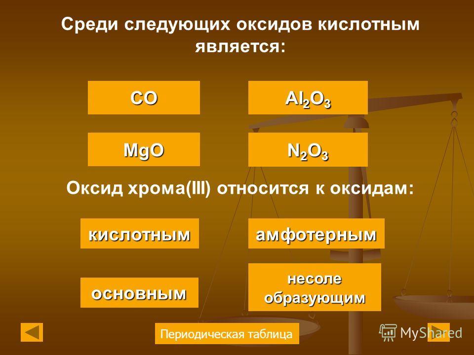 Периодическая таблица Среди следующих оксидов кислотным является: MgO CO AI 2 O 3 AI 2 O 3 N2O3N2O3N2O3N2O3 Оксид хрома(III) относится к оксидам: кислотным основным несоле образующим несоле образующим амфотерным