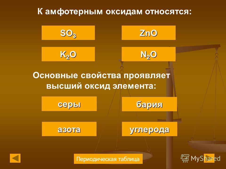 Периодическая таблица К амфотерным оксидам относятся: K2OK2OK2OK2O SO 3 SO 3 ZnO N2ON2ON2ON2O Основные свойства проявляет высший оксид элемента: серы азота бария углерода