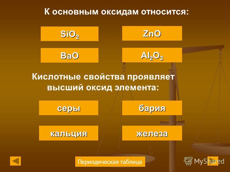 Периодическая таблица К основным оксидам относится: BaO SiO 2 SiO 2 ZnO AI 2 O 3 AI 2 O 3 Кислотные свойства проявляет высший оксид элемента: серы кальция бария железа