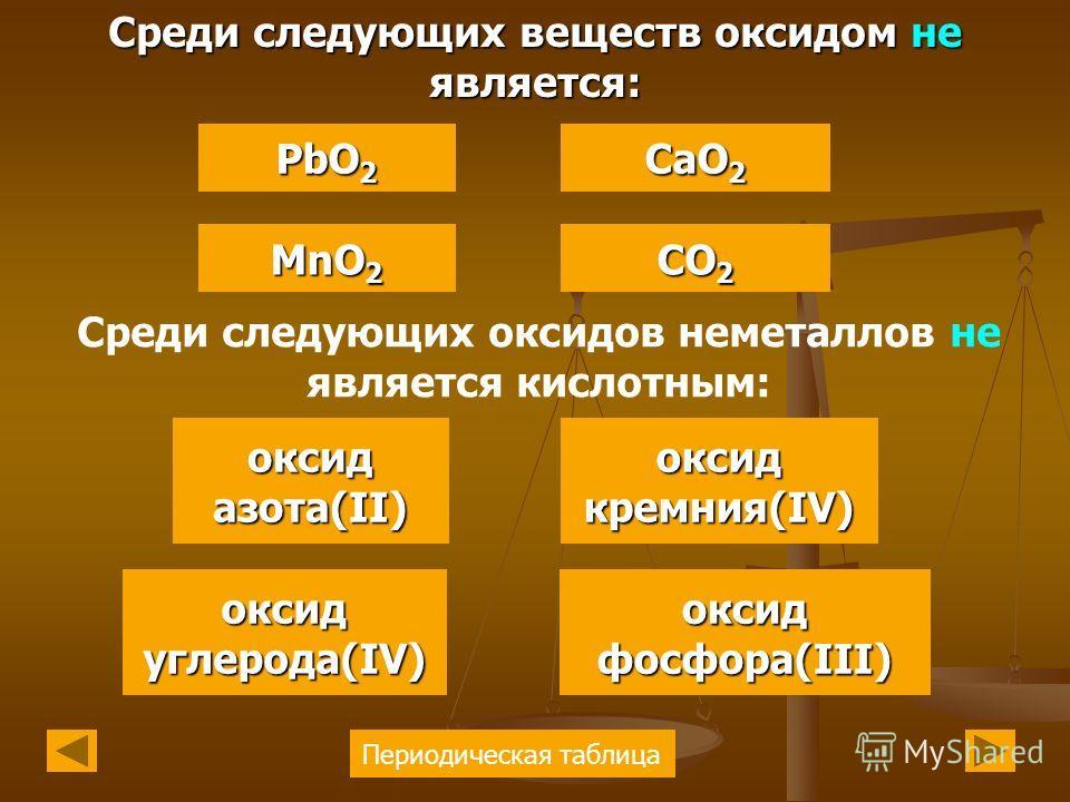 Периодическая таблица PbO 2 PbO 2 MnO 2 MnO 2 CaO 2 CaO 2 Среди следующих веществ оксидом не является: Среди следующих оксидов неметаллов не является кислотным: CO 2 CO 2 оксид кремния(IV) кремния(IV) оксид азота(II) оксид азота(II) оксид углерода(IV