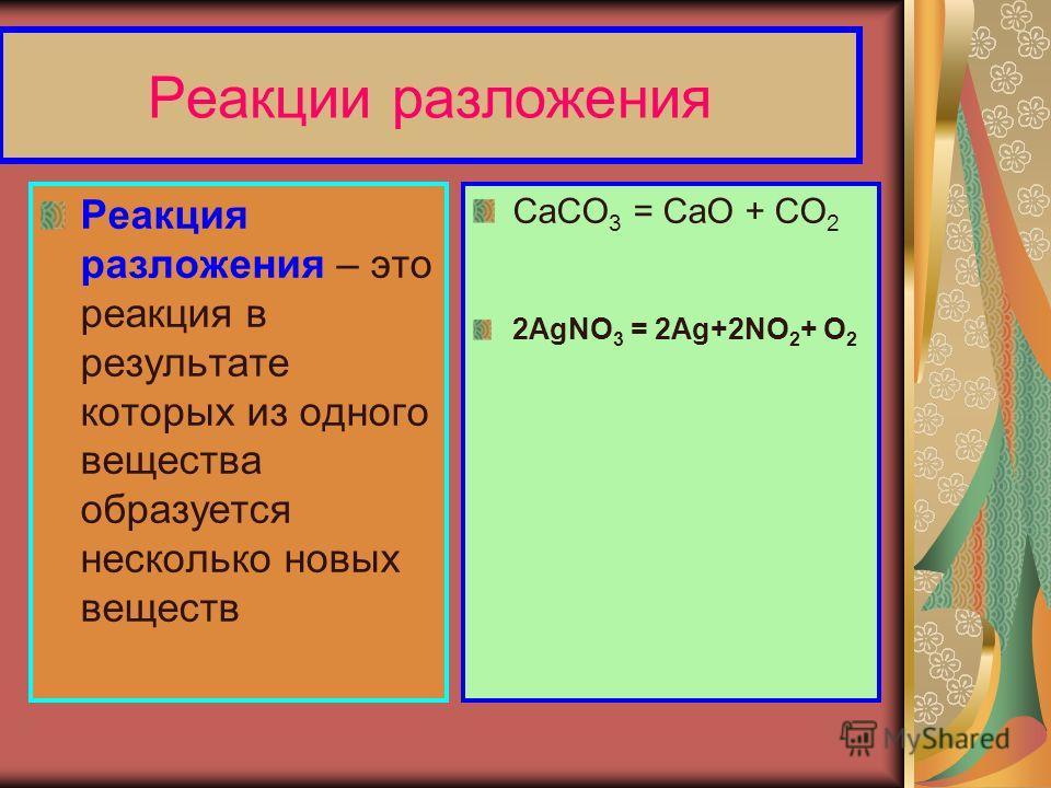 Реакции разложения Реакция разложения – это реакция в результате которых из одного вещества образуется несколько новых веществ CaCO 3 = CaO + CO 2 2AgNO 3 = 2Ag+2NO 2 + О 2