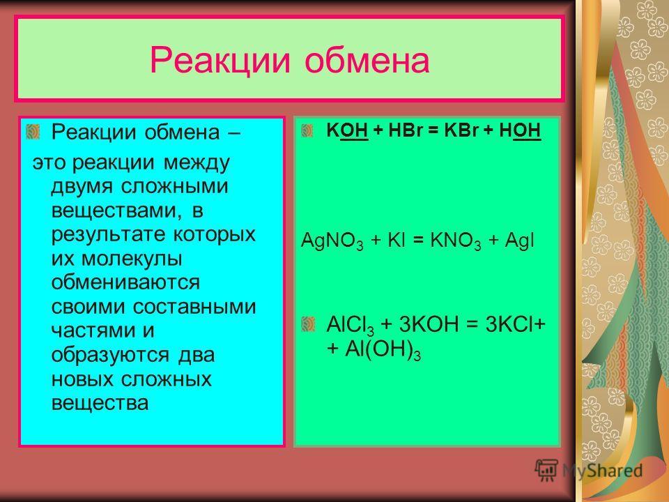 Реакции обмена Реакции обмена – это реакции между двумя сложными веществами, в результате которых их молекулы обмениваются своими составными частями и образуются два новых сложных вещества KOH + HBr = KBr + HOH AgNO 3 + KI = KNO 3 + AgI AlCl 3 + 3KOH