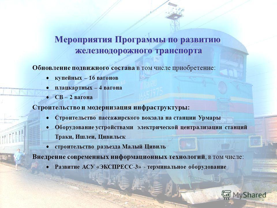 Мероприятия Программы по развитию железнодорожного транспорта Обновление подвижного состава в том числе приобретение: купейных – 16 вагонов плацкартных – 4 вагона СВ – 2 вагона Строительство и модернизация инфраструктуры: Строительство пассажирского