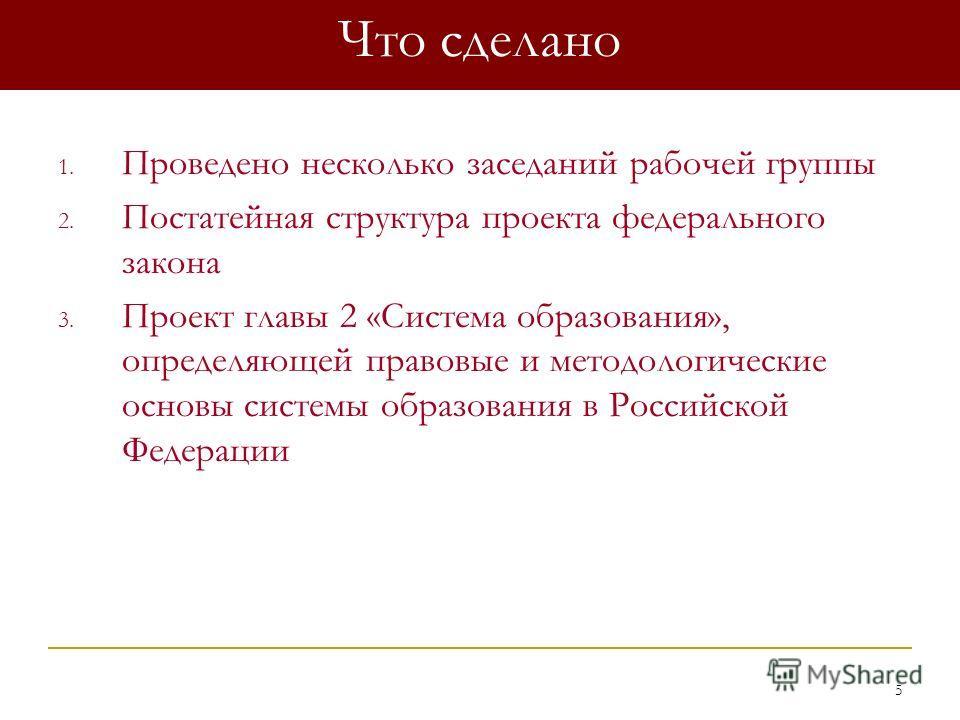 5 Что сделано 1. Проведено несколько заседаний рабочей группы 2. Постатейная структура проекта федерального закона 3. Проект главы 2 «Система образования», определяющей правовые и методологические основы системы образования в Российской Федерации