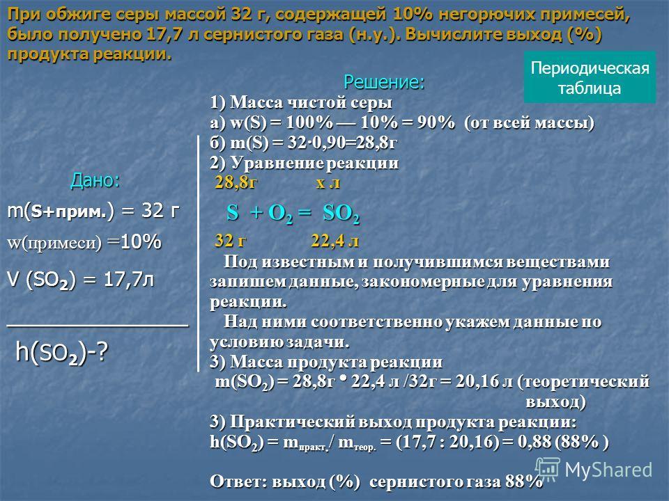 При обжиге серы массой 32 г, содержащей 10% негорючих примесей, было получено 17,7 л сернистого газа (н.у.). Вычислите выход (%) продукта реакции. Дано: m( S+прим. ) = 32 г w (примеси) = 10% V (SО 2 ) = 17,7л _____________ h( SO 2 )-? h( SO 2 )-? Реш