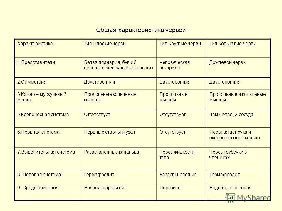 Общая характеристика червей ХарактеристикаТип Плоские червиТип Круглые червиТип Кольчатые черви 1.ПредставителиБелая планария, бычий цепень, печеночный сосальщик Человеческая аскарида Дождевой червь 2.СимметрияДвусторонняя 3.Кожно – мускульный мешок