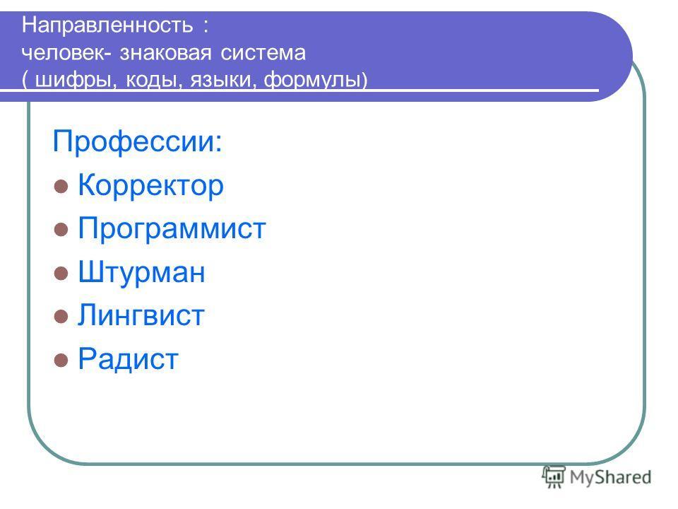 Направленность : человек- знаковая система ( шифры, коды, языки, формулы ) Профессии: Корректор Программист Штурман Лингвист Радист