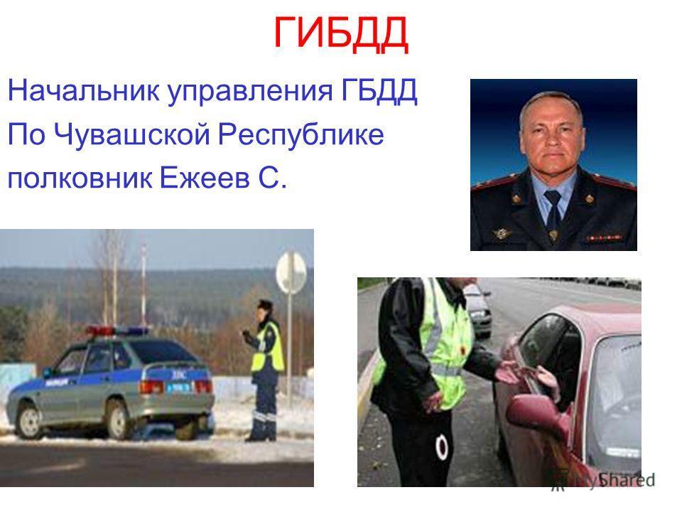 ГИБДД Начальник управления ГБДД По Чувашской Республике полковник Ежеев С.