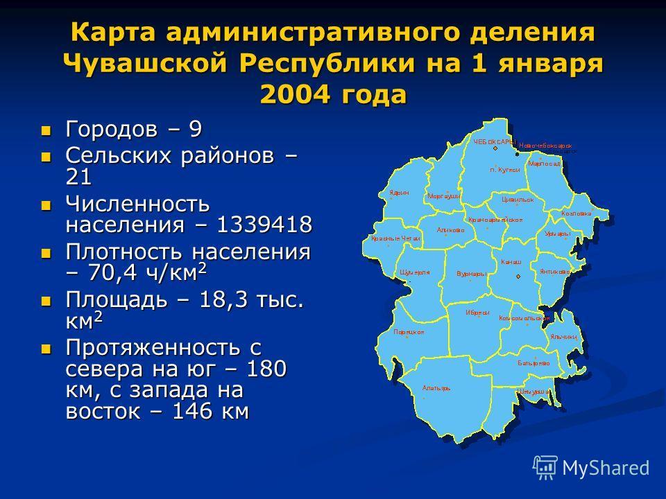 Карта административного деления Чувашской Республики на 1 января 2004 года Городов – 9 Городов – 9 Сельских районов – 21 Сельских районов – 21 Численность населения – 1339418 Численность населения – 1339418 Плотность населения – 70,4 ч/км 2 Плотность