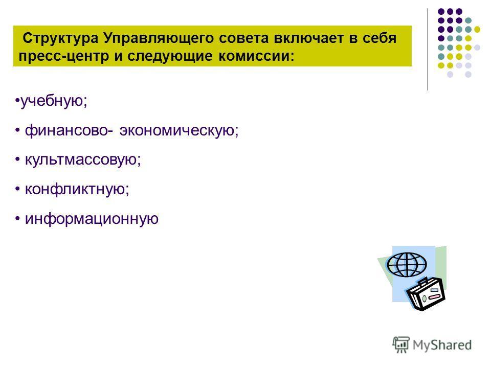 Структура Управляющего совета включает в себя пресс-центр и следующие комиссии: учебную; финансово- экономическую; культмассовую; конфликтную; информационную